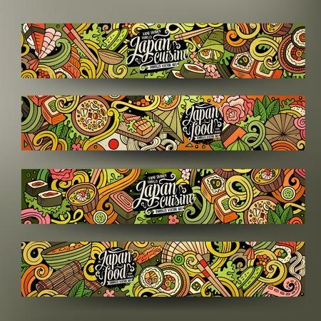 Leuke cartoon vector kleurrijke hand getekende doodles Japans eten corporate identity. 4 horizontale banners design. sjablonen set