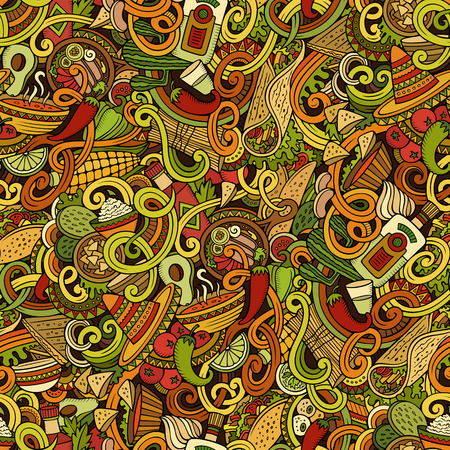 latinoamerica: Cartoon cute doodles hand drawn mexican food seamless pattern. Colorful detailed, with lots of objects background. Endless funny vector illustration. Bright colors backdrop