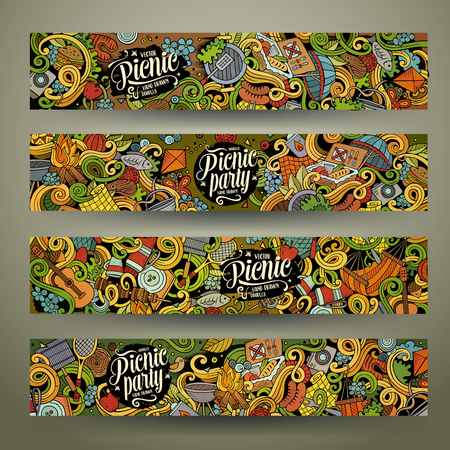 party cartoon: Cartoon colorful vector hand drawn doodles picnic theme corporate identity. 4 Horizontal banners design. Templates set