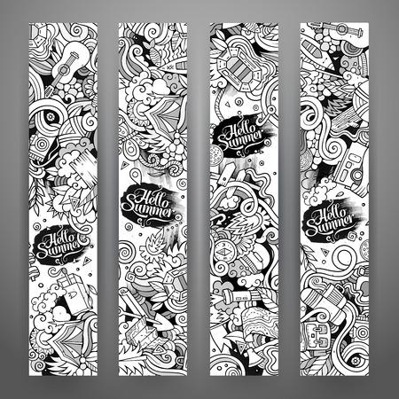 line art: Cartoon vector hand drawn line art camping doodle corporate identity. 4 vertical banners design. Templates set