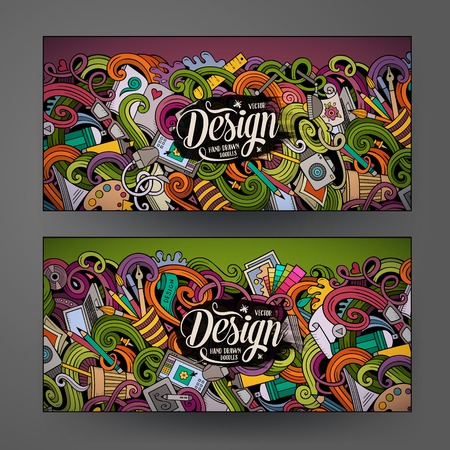 Cartoon colorful vector hand drawn doodles design artistic corporate identity. 2 Horizontal banners design. Templates set