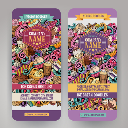 business card template: Cartoon colorful vector hand drawn doodles ice cream corporate identity. 2 vertical banners design. Templates set