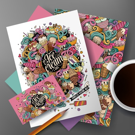 Corporate Identity vector set. Templates on the table with the ice cream doodles hand drawn design.