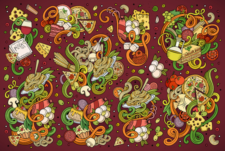 macaroni: Colorful vector hand drawn doodle cartoon set of italian food objects and symbols