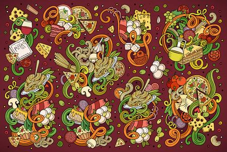 restaurante italiano: vector de la mano de colores de dibujos animados del doodle de conjunto de objetos de comida italiana y símbolos