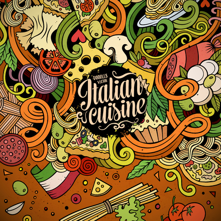 spaghetti: Cartoon hand-drawn doodles Italian food illustration. Colorful detailed, with lots of objects vector design background Illustration