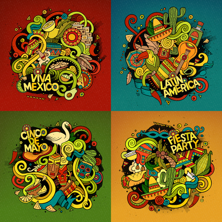 Latin American cartoon vector hand drawn doodle illustration. Colorful detailed designs with objects and symbols. 4 square composition banner vector set.