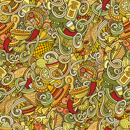 mexican background: Cartoon hand-drawn mexican food doodles seamless pattern. Detailed, with lots of objects vector background