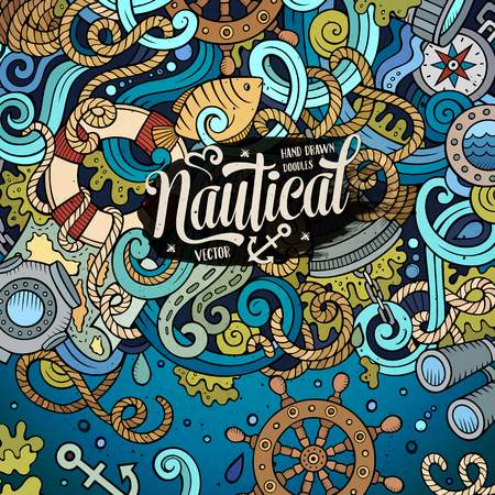 sail fin: Nautical cartoon vector hand drawn doodle illustration. Colorful detailed design with lot of objects and symbols