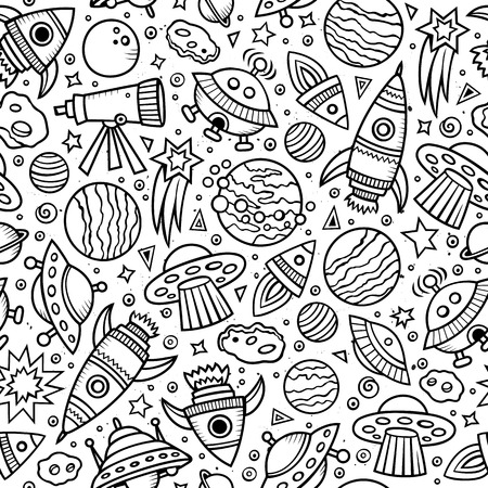 line art: Cartoon hand-drawn space, planets seamless pattern. Lots of symbols, objects and elements. Perfect funny vector background.