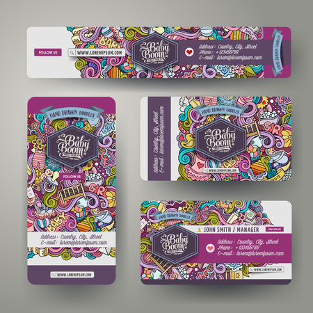 Corporate Identity vector templates set design with doodles hand drawn baby theme. Colorful banner, id cards, flayer design. Templates set