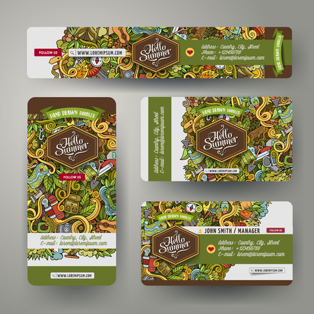 picnic park: Corporate Identity vector templates set design with doodles hand drawn camping theme. Colorful banner, id cards, flayer design. Templates set Illustration