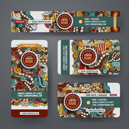 Corporate Identity vector templates set design with doodles hand drawn cinema theme. Colorful banner, id cards, flayer design. Templates set