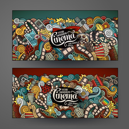 Cartoon colorful vector hand drawn doodles cinema corporate identity. 2 Horizontal banners design. Templates set
