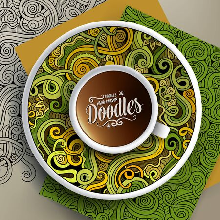 bezel: Vector illustration with a Cup of coffee and hand drawn curls, swirls doodles on a saucer, on paper and on the background Illustration