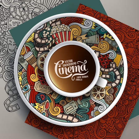 Vector illustration with a Cup of coffee and hand drawn cinema doodles on a saucer, on paper and on the background