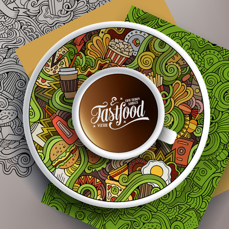 bezel: Vector illustration with a Cup of coffee and hand drawn fastfood doodles on a saucer, paper and background