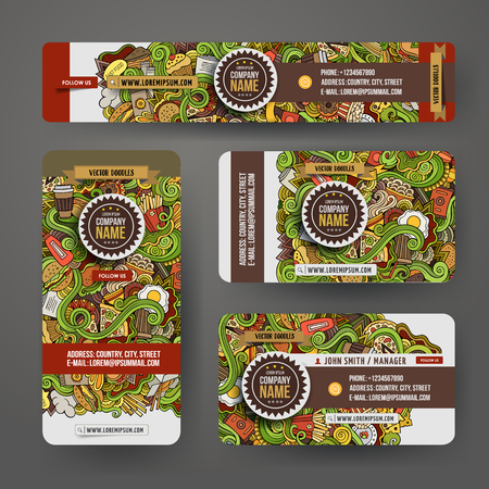 fastfood: Corporate Identity vector templates set design with doodles hand drawn fastfood theme. Colorful banner, id cards, flayer design. Templates set