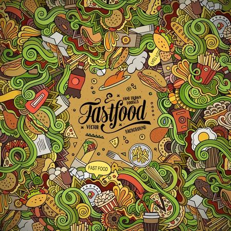 fastfood: Cartoon nguệch ngoạc dễ thương vẽ tay thiết kế khung thức ăn nhanh. Đầy màu sắc chi tiết, với nhiều nền đối tượng. Vui vector minh họa. màu đường viền sáng với các mặt hàng chủ đề fastfood