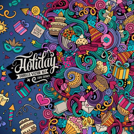만화 귀여운 낙서 손으로 휴일 프레임 디자인을 그려. 다채로운 개체 배경의 많은, 자세한. 재미 벡터 일러스트 레이 션입니다. 생일 테마 항목과 밝은