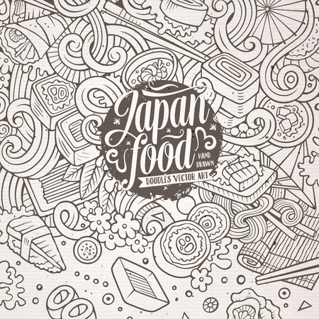 Cartoon hand-drawn doodles Japan food frame. Line art detailed, with lots of objects vector design background Illustration