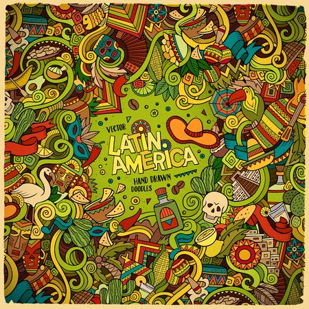 getekende cartoon leuke doodles kant latinamerican frame design. Kleurrijk gedetailleerd, met veel objecten achtergrond. Grappige vector afbeelding. Heldere kleuren grens met Latijns-Amerika thema artikelen Vector Illustratie