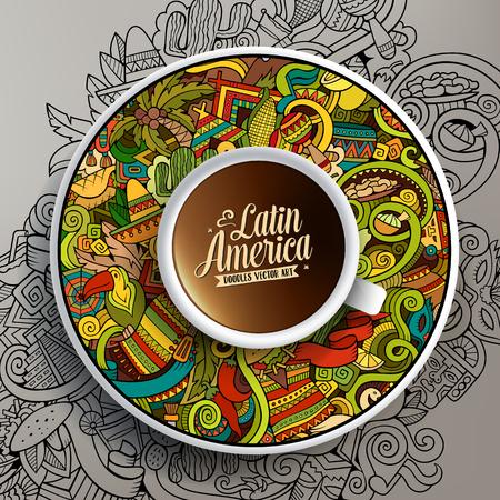 Vector illustration avec une tasse de café et dessiné à la main griffonnages d'Amérique latine sur une soucoupe et sur le fond
