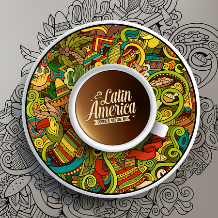 picchu: Vector illustration with a Cup of coffee and hand drawn Latin American doodles on a saucer and on the background