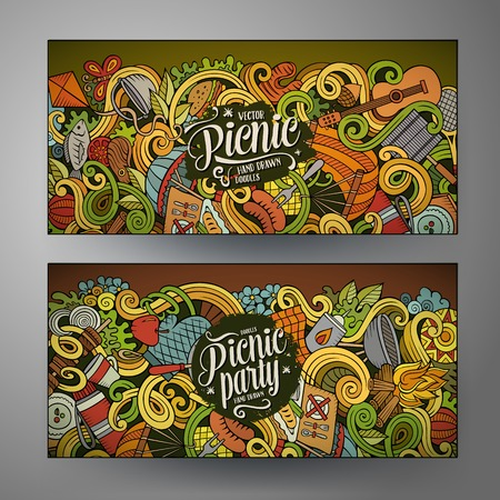 hand basket: Cartoon colorful vector hand drawn doodles picnic theme corporate identity. 2 Horizontal banners design. Templates set Illustration