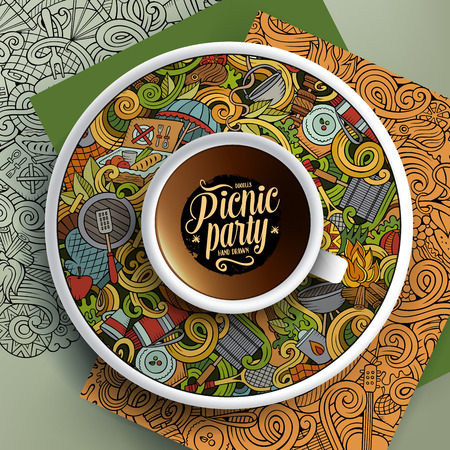 bezel: Vector illustration with a Cup of coffee and hand drawn picnic doodles on a saucer, paper and background