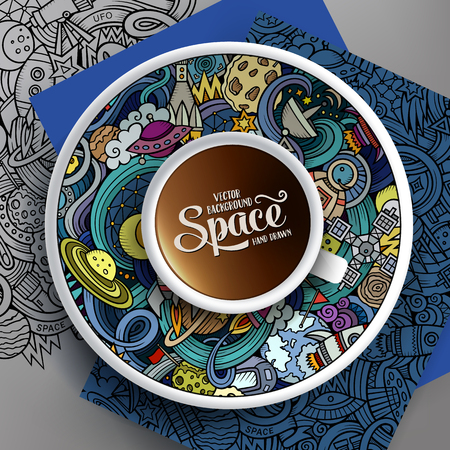 bezel: Vector illustration with a Cup of coffee and hand drawn space doodles on a saucer, on paper and on the background