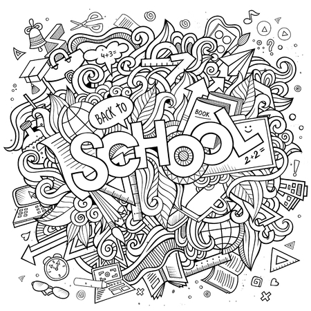 vector background: Cartoon cute doodles hand drawn school illustration. Sketchy picture with education theme items. Doodle inscription School. Line art detailed, with lots of objects background. Funny vector artwork.