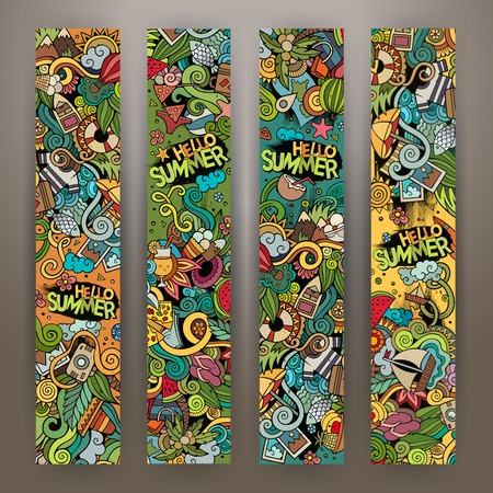summer cartoon: Cartoon cute colorful vector hand drawn doodles summer time corporate identity. 4 vertical banners design. Templates set