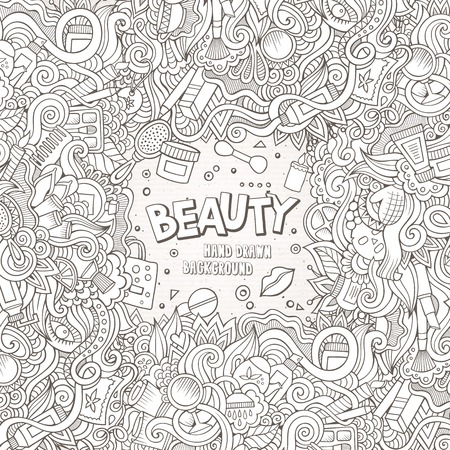 theme: Cartoon cute doodles hand drawn cosmetics frame design. Line art detailed, with lots of objects background. Funny vector illustration. Sketchy border with beauty theme items