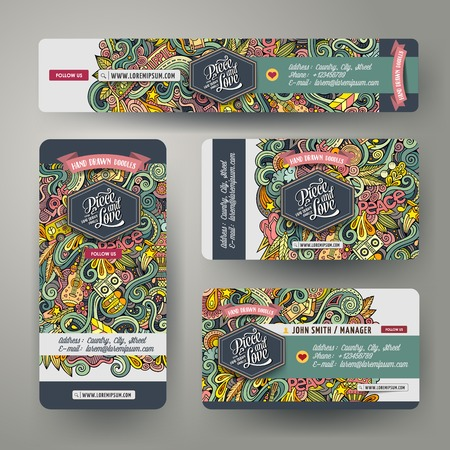 Corporate Identity vector templates set design with doodles hand drawn hippie theme. Colorful banner, id cards, flayer design. Templates set
