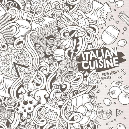 pizza ingredients: Cartoon cute doodles hand drawn italian cuisine frame design. Line art detailed, with lots of objects background. Funny vector illustration. Sketchy border with Italia food theme items
