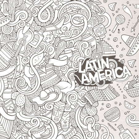 machu: Cartoon cute doodles hand drawn latinamerican frame design. Line art detailed, with lots of objects background. Funny vector illustration. Sketchy border with Latin America theme items