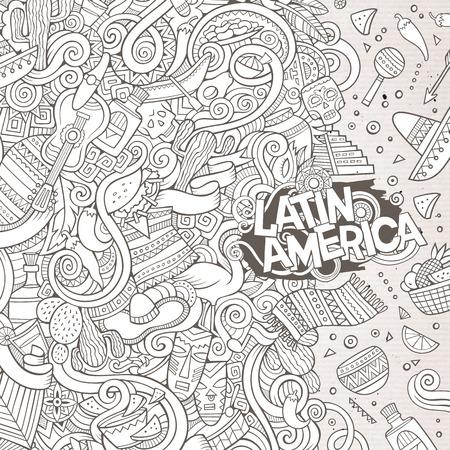 getekende cartoon leuke doodles kant latinamerican frame design. Lijntekeningen gedetailleerd, met veel objecten achtergrond. Grappige vector afbeelding. Schetsmatig grens met Latijns-Amerika thema artikelen