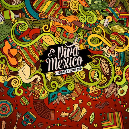 getekende cartoon leuke doodles kant latinamerican frame design. Kleurrijk gedetailleerd, met veel objecten achtergrond. Grappige vector afbeelding. Heldere kleuren grens met Latijns-Amerika thema artikelen Stock Illustratie