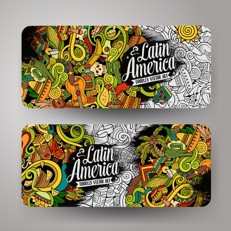 machu picchu: Cartoon cute colorful vector hand drawn doodles Latin America corporate identity. 2 horizontal banners design. Templates set