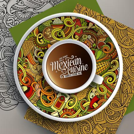 plato de comida: Ilustración del vector con una taza de café y de la mano dibuja garabatos de comida mexicana en un platillo, en el papel y en el fondo