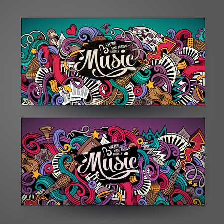 Cartoon colorful vector hand drawn doodles music corporate identity. 2 Horizontal banners design. Templates set