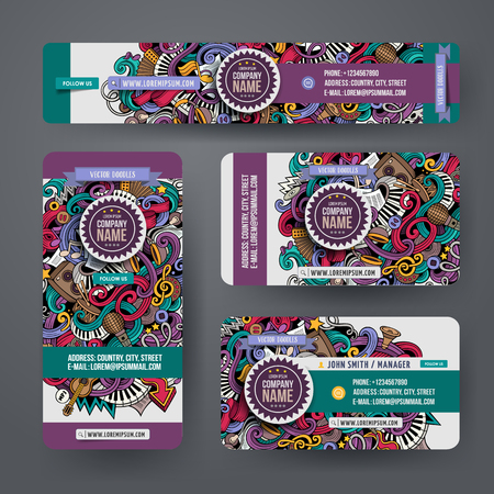 Corporate Identity vector templates set design with doodles hand drawn musical theme. Colorful banner, id cards, flayer design. Templates set Illustration
