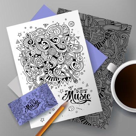 rhythm: Cartoon cute colorful vector hand drawn doodles musical corporate identity set. Templates design of business card, flyers, posters, papers on the table. Illustration