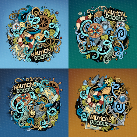 detailed: Nautical cartoon vector hand drawn doodle illustration. Colorful detailed designs with lot of objects and symbols. 4 square composition backgrounds set. Bright colors picture with maritime theme items