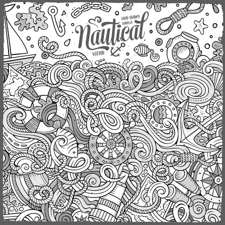 sail fin: Cartoon cute doodles hand drawn nautical frame design. Line art detailed, with lots of objects background. Funny vector illustration. Sketched border with maritime theme items
