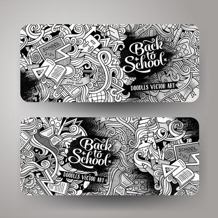 漫画かわいいライン アート スケッチ ベクトル手描き落書き学校コーポレート ・ アイデンティティ。2 水平ライン アート バナーを設計します。テ
