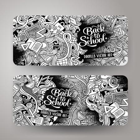 horizontal line: Cartoon cute line art sketchy vector hand drawn doodles school corporate identity. 2 horizontal line art banners design. Templates set