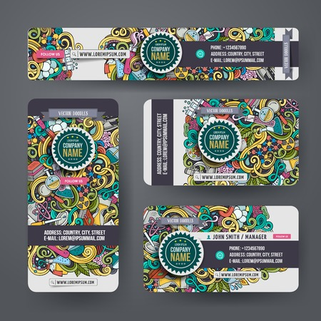 business ideas: Corporate Identity vector templates set design with doodles hand drawn science theme. Colorful banner, id cards, flayer design. Templates set