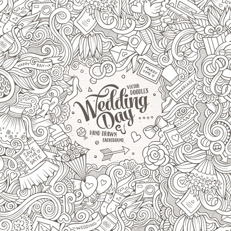 composition art: Cartoon cute doodles hand drawn wedding illustration. Line art detailed, with lots of objects background. Funny vector artwork. Sketch picture with marriage theme items. Square composition